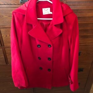 Sharp Red  peacoat with removable hood.